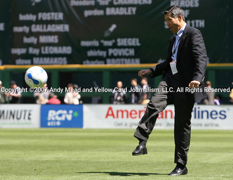 06 May 2007: DC United Co-Managing Partner William H.C. Chang kicks the ball back to a player.  DC United defeated CD Chivas USA 2-1 at RFK Stadium in Washington, DC in a Major League Soccer 2007 regular season game.
