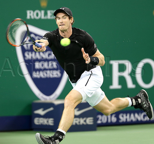 13.10.2016. Shanghai, China.  Andy Murray of Britain returns the ball during the third round singles match against Lucas Pouille of France at the Shanghai Masters tennis tournament in Shanghai, east China, Oct. 13, 2016. Murray won 2-0.