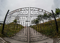 General view of The Loakes Park gates (Former home of WW) at Wycombe Wanderers Stadium, Adams Park, High Wycombe, Bucks, England on 12 July 2015. Photo by Andy Rowland.