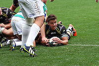 Sunday 19 October 2014<br /> Pictured: Ospreys scrum-half Rhys Webb scores a try.<br /> Re: Ospreys v Treviso, Heineken Champions Cup at the Liberty Stadium, Swansea