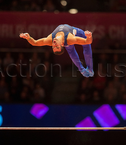 30.10.2015. Glasgow, Scotland. FIG Artistic Gymnastics World Championships. Day Eight. Danell LEYVA (USA) 2014 World Championships Team Bronze Medallist and Parallel Bars Silver Medallist during his Horizontal Bar routine in the Men's All-Around Final.
