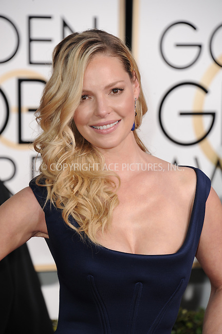 WWW.ACEPIXS.COM<br /> <br /> January 11 2015, LA<br /> <br /> Katherine Heigl arriving at the 72nd Annual Golden Globe Awards at The Beverly Hilton Hotel on January 11, 2015 in Beverly Hills, California.<br /> <br /> By Line: Peter West/ACE Pictures<br /> <br /> <br /> ACE Pictures, Inc.<br /> tel: 646 769 0430<br /> Email: info@acepixs.com<br /> www.acepixs.com