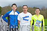 Tim O'Connor Riocht, John Barrett Gneeveguilla and Richard O'Brien Killarney who participated in the third leg of the Gneeveguilla AC Winter Road race series in Killarney National Park on Saturday..