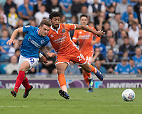 Shrewsbury Town's Josh Laurent (right) battles with Portsmouth's Ben Thompson (left) <br /> <br /> Photographer David Horton/CameraSport<br /> <br /> The EFL Sky Bet League One - Portsmouth v Shrewsbury Town - Saturday September 8th 2018 - Fratton Park - Portsmouth<br /> <br /> World Copyright &copy; 2018 CameraSport. All rights reserved. 43 Linden Ave. Countesthorpe. Leicester. England. LE8 5PG - Tel: +44 (0) 116 277 4147 - admin@camerasport.com - www.camerasport.com