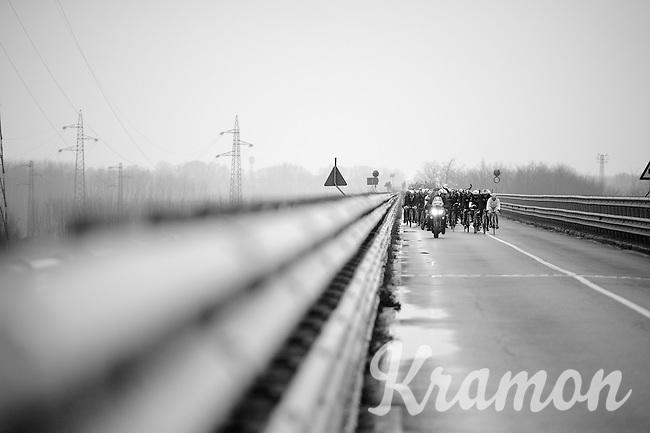 peloton crossing the bridge over the Po river<br /> <br /> 106th Milano - San Remo 2015