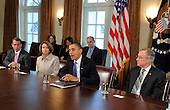 United States President Barack Obama, right center, makes remarks prior to a bipartisan meeting with Congressional leaders to discuss jobs and the economy, in the Cabinet Room of the White House, February 9, 2010, in Washington,D.C.  Attending from left to right: U.S. House Republican Minority Leader John Boehner (Republican of Ohio); U.S. House Speaker Nancy Pelosi (Democrat of California); the President and U.S. Senate Majority Leader Harry Reid (Democrat of Nevada), as the president urged a better working relationship between the parties.     .Credit: Mike Theiler / Pool via CNP