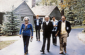 Prime Minister Menachem Begin of Israel, right, and Aliza Begin, wife of the Prime Minister, left, walk with advisors at Camp David, the US presidential retreat near Thurmont, Maryland during the summit to discuss a peace treaty between Egypt and Israel in September, 1978..Credit: White House via CNP