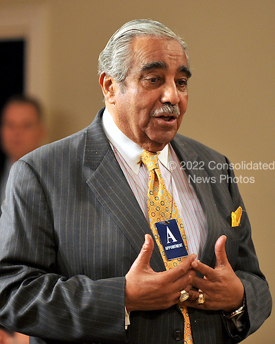 Washington, DC - February 23, 2009 -- United States Representative Charles Rangel (Democrat of New York), Chairman of the House Ways and Means Committee makes a statement as United States President Barack Obama delivers remarks and takes some questions from participants to close the Fiscal Responsibility Summit at the White House in Washington, D.C. on Monday, February 23, 2009..Credit: Ron Sachs - Pool via CNP