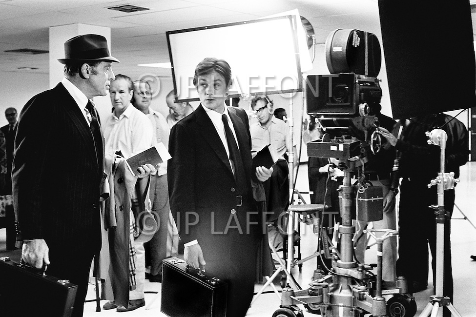 Washington DC, USA. June 14th 1972. French actor Alain Delon starring in Michael Winner's film Scorpio, shot in the Watergate building.