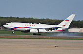 The plane carrying Russian President Dmitry Medvedev lands at Andrews Air Force Base, Maryland, April 12, 2010. Medvedev is attending the Nuclear Security Summit.  .Credit: Kevin Dietsch / Pool via CNP