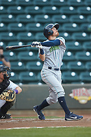Conner Capel (1) of the Lynchburg Hillcats follows through on his swing against the Winston-Salem Dash at BB&T Ballpark on May 3, 2018 in Winston-Salem, North Carolina. The Dash defeated the Hillcats 5-3. (Brian Westerholt/Four Seam Images)