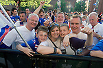 Rangers Fans in Manchester, 14/05/2008. Albert Square, UEFA Cup Final. A family supporting Glasgow Rangers gathering in the centre of Manchester to watch the UEFA Cup final against Zenit St. Petersburg on a large screen in Albert Square, the location of one of the UEFA Fan Zones. The match was staged at the City of Manchester Stadium and was won by the Russian team by two goals to nil. It was Rangers' first European final appearance since they won the Cup-Winners Cup in 1972 and around 150,000 fans gathered in Manchester. Photo by Colin McPherson.