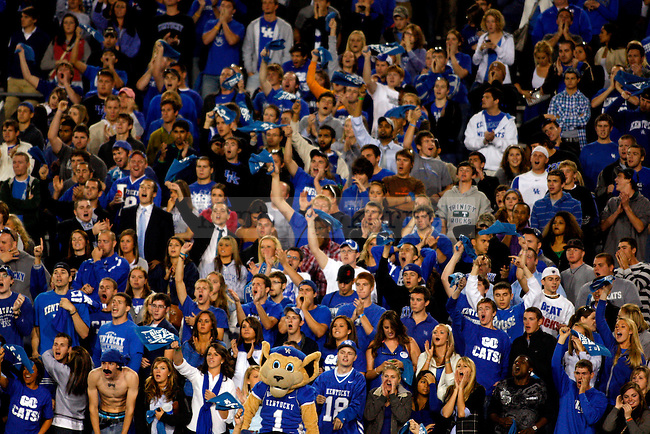 The student section cheers on the Wildcats as they attempt to tie the score in the second half of UK's 31-28 win over  South Carolina football on Saturday, Oct. 16, 2010. Photo by Britney McIntosh | Staff