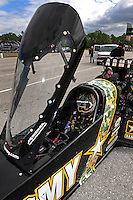 Jan. 17, 2012; Jupiter, FL, USA: NHRA top fuel dragster driver Tony Schumacher during testing at the PRO Winter Warmup at Palm Beach International Raceway. Mandatory Credit: Mark J. Rebilas-