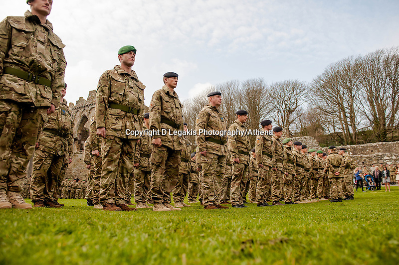 Wednesday 26 March 2014<br /> Pictured: The troops line up at St Davids Cathedral<br /> Re: 236 Signal Squadron ( part of 14 Signal regiment who are based at Cawdor Barracks in Brawdy Parade through the streets of  St.Davids Pembrokeshire led by Haverfordwest Air Training Corps Band and are then Presented with medals