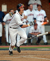 Virginia outfielder Brandon Downes (10) gets a hit during the game against Clemson Friday at Davenport Field in Charlottesville, VA. Photo/The Daily Progress/Andrew Shurtleff