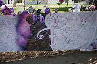 Large memorial banner with Prince, his Love Symbol and  notes of appreciation. Paisley Park Chanhassen Minnesota MN USA