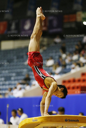 Wataru Tanigawa (Funabashi),<br /> August 2, 2014 - Artistic Gymnastics : <br /> 2014 All-Japan Inter High School Championships, <br /> Men's Artistic Gymnastics Preliminary<br /> at Yoyogi 1st Gymnasium, Tokyo, Japan. <br /> (Photo by Shingo Ito/AFLO SPORT) [1195]