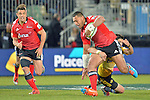 NELSON, NEW ZEALAND - MAY 29:  Robbie Fruean of the Crusaders is tackled but Dan Carter in support in round 16 Super Rugby match between the Crusaders and the Hurricanes at Trafalgar Park on May 29, 2015 in Nelson, New Zealand.. (Photo Barry Whitnall/Shuttersport Limited