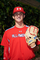 Ethan Hankins (31) of Forsyth Central High School in Cumming, Georgia poses for a photo before the Under Armour All-American Game presented by Baseball Factory on July 29, 2017 at Wrigley Field in Chicago, Illinois.  (Mike Janes/Four Seam Images)