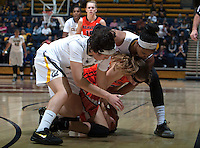 Hind Ben Abdelkader of California and Brittany Boyd of California fight for a loose ball during the game against Oregon State at Haas Pavilion in Berkeley, California on January 3rd, 2014.  California defeated Oregon State, 72-63.