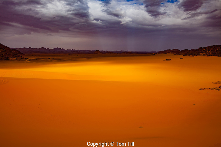 Dunes and storm, Jebel Acacus, LIbya, Mountains in Sahara Desert UNESCO World Heritage Site, The Awiss  Africa