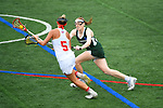 TAMPA, FL - MAY 20: Kelly Gafney #27 of the Le Moyne Dolphins defends Casey O'Brien #5 of the Florida Southern Mocs during the Division II Women's Lacrosse Championship held at the Naimoli Family Athletic and Intramural Complex on the University of Tampa campus on May 20, 2018 in Tampa, Florida. Le Moyne defeated Florida Southern 16-11 for the national title. (Photo by Jamie Schwaberow/NCAA Photos via Getty Images)