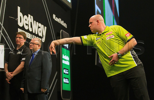 31.03.2016. The Motorpoint Arena, Cardiff.  Betway PDC Premier League Darts Judgement Night. Michael Van Gerwen in action tonight