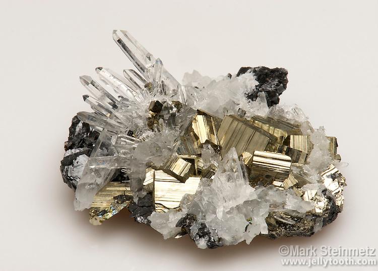 Quartz, Pyrite, and Sphalerite. Huaron Mine, Peru.