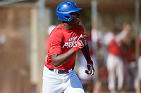 Mahki Backstrom during the WWBA World Championship at the Roger Dean Complex on October 21, 2018 in Jupiter, Florida.  Mahki Backstrom is a first baseman from Los Angeles, California who attends Junipero Serra High School and is committed to Fresno State.  (Mike Janes/Four Seam Images)