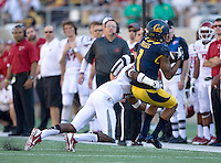 Bryce Treggs of California catches the ball from California quarterback Jared Goff during the game against Washington State at Memorial Stadium in Berkeley, California on October 5th, 2013.  Washington State defeated California, 44-22.