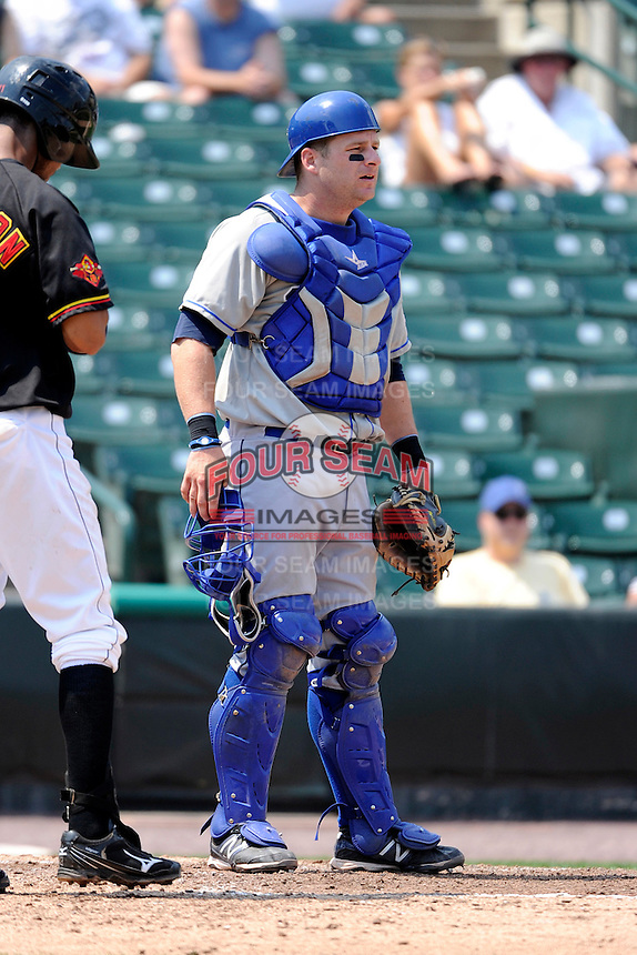 Durham Bulls catcher Stephen Vogt #30 during a game against the Rochester Red Wings at Frontier Field on June 21, 2012 in Rochester, New York.  Durham defeated Rochester 14-8.  (Mike Janes/Four Seam Images)