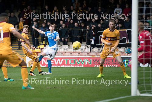 Motherwell v St Johnstone…18.03.17     SPFL    Fir Park<br />Liam Craig scores his second goal<br />Picture by Graeme Hart.<br />Copyright Perthshire Picture Agency<br />Tel: 01738 623350  Mobile: 07990 594431