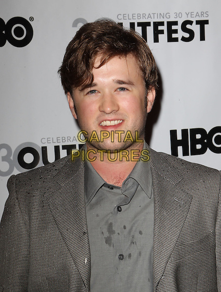 Haley Joel Osment.The 2012 Outfest Opening Night Gala of Vito Held at The Orpheum Theatre, Los Angeles, California, USA..July 12th, 2012.headshot portrait wet grey gray shirt suit jacket stubble facial hair.CAP/ADM/KB.©Kevan Brooks/AdMedia/Capital Pictures.