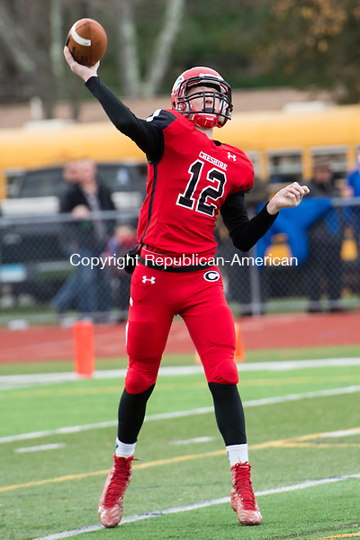 CHESHIRE, CT - 25 November 2015-112615EC02--  Action man. Cheshire's Will Graikoski throws during Thursday's game against Southington. Erin Covey Republican-American.