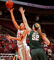Ohio State Buckeyes forward Martina Ellerbe (23) puts up a shot against Michigan State Spartans forward Becca Mills (52) during the first half of their NCAA basketball game at Value City Arena in Columbus, Ohio on January 26, 2014.  (Dispatch photo by Kyle Robertson)