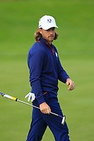 Tommy Fleetwood (Team Europe) on the 7th green during Friday Fourball at the Ryder Cup, Le Golf National, Iles-de-France, France. 28/09/2018.<br /> Picture Thos Caffrey / Golffile.ie<br /> <br /> All photo usage must carry mandatory copyright credit (© Golffile | Thos Caffrey)