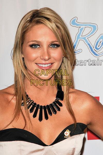 STEPHANIE PRATT.arriving at a Pre-Grammy party to benefit the American Rad Cross, Santa Monica Chapter at H.Wood Nightclub in Hollywood, California, USA, .January 29th, 2010.portrait headshot black and beige bustier corset strapless necklace eye contact brooch pin  false eyelashes .CAP/ROT.©Lee Roth/Capital Pictures.