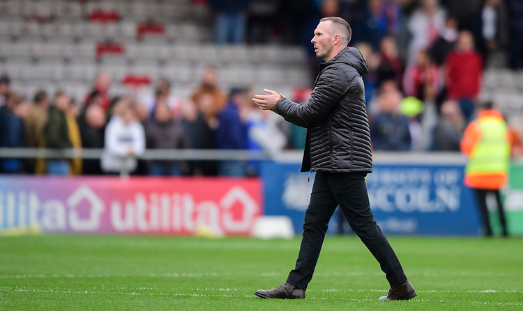 Lincoln City manager Michael Appleton applauds the fans at the final whistle<br /> <br /> Photographer Chris Vaughan/CameraSport<br /> <br /> The EFL Sky Bet League One - Lincoln City v Sunderland - Saturday 5th October 2019 - Sincil Bank - Lincoln<br /> <br /> World Copyright © 2019 CameraSport. All rights reserved. 43 Linden Ave. Countesthorpe. Leicester. England. LE8 5PG - Tel: +44 (0) 116 277 4147 - admin@camerasport.com - www.camerasport.com