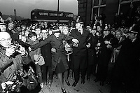 Pix: Barry Wilkinson/SWpix.com. The Yorkshire Ripper Archive. 09/1980..COPYRIGHT PICTURE>>SIMON WILKINSON>>0870 092 0092>>..Police Hold Back large crowds outside Dewsbury court, awaiting the 'RIPPER' to arrive.