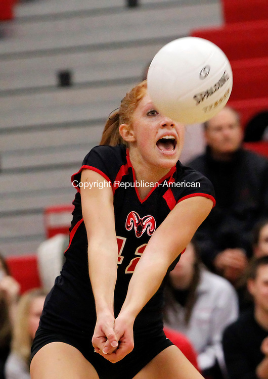 Fairfield, CT- 18, November 2010-111810CM04 NEWS ACTION Cheshire High School's Emily Werth, returns a shot against Greenwich at Fairfield Warde High Thursday night.  Greenwhich defeated Cheshire 3-0, advancing to the Class L State Finals.   Christopher Massa Republican-American