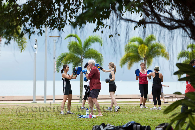 Exercise workout at the Esplanade.  Cairns, Queensland, Australia