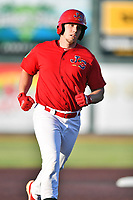 Johnson City Cardinals Chandler Redmond (25) rounds the bases after hitting a home run during game three of the Appalachian League, West Division Playoffs against the Bristol Pirates at TVA Credit Union Ballpark on September 1, 2019 in Johnson City, Tennessee. The Cardinals defeated the Pirates 7-5 to win the series 2-1. (Tony Farlow/Four Seam Images)