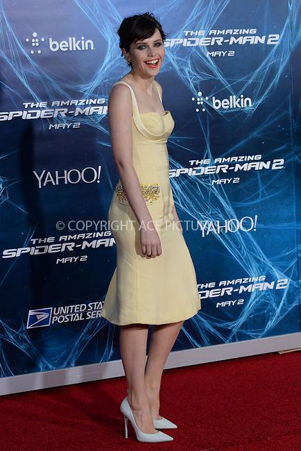 WWW.ACEPIXS.COM<br /> April 24, 2014 New York City<br /> <br /> Felicity Jones attending the 'The Amazing Spider-Man 2' New York Premiere in New York City on April 24, 2014.<br /> <br /> By Line: Kristin Callahan/ACE Pictures<br /> ACE Pictures, Inc.<br /> tel: 646 769 0430<br /> Email: info@acepixs.com<br /> www.acepixs.com