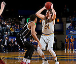 BROOKINGS, SD - JANUARY 7:  Mike Daum #24 from South Dakota State University looks spots up for a jumper over JT Gibson #0 from the University of Nebraska Omaha during their game Saturday afternoon at Frost Arena in Brookings. (Dave Eggen/Inertia)