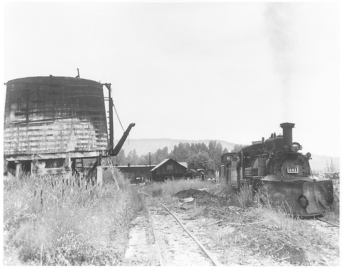 Ridgway yards with roundhouse in background.  Roofless water tank on left and K-27 #461 with plow on right.<br /> RGS  Ridgway, CO  Taken by Krause, John