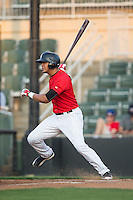 Antonio Rodriguez (6) of the Kannapolis Intimidators follows through on his swing against the Asheville Tourists at Kannapolis Intimidators Stadium on May 26, 2016 in Kannapolis, North Carolina.  The Tourists defeated the Intimidators 9-6 in 11 innings.  (Brian Westerholt/Four Seam Images)