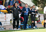 St Johnstone v Celtic....15.09.12      SPL  .Steve Lomas and Tommy Wright appeal to the linesman.Picture by Graeme Hart..Copyright Perthshire Picture Agency.Tel: 01738 623350  Mobile: 07990 594431