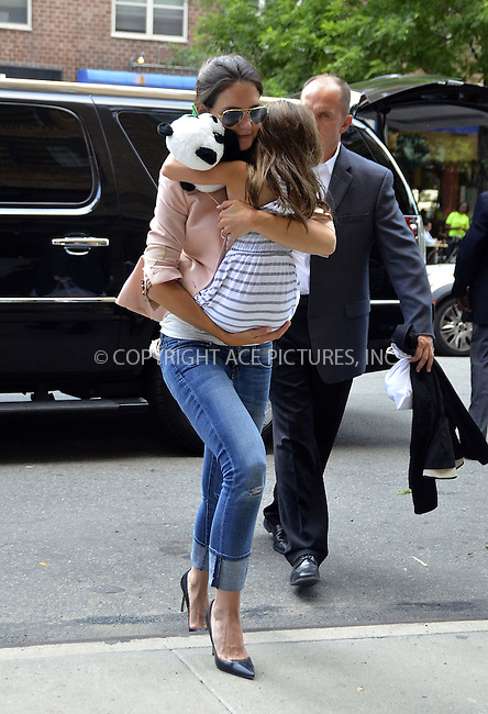 WWW.ACEPIXS.COM . . . . .  ....June 14 2012, New York City....Actress Katie Holmes takes her daughter Suri Cruise from a downtown hotel to her apartment, and then to a store before returning to the hotel on June 14 2012 in New York City....Please byline: CURTIS MEANS - ACE PICTURES.... *** ***..Ace Pictures, Inc:  ..Philip Vaughan (212) 243-8787 or (646) 769 0430..e-mail: info@acepixs.com..web: http://www.acepixs.com