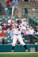Rochester Red Wings third baseman Stephen Wickens (38) at bat during a game against the Columbus Clippers on June 16, 2016 at Frontier Field in Rochester, New York.  Rochester defeated Columbus 6-2.  (Mike Janes/Four Seam Images)